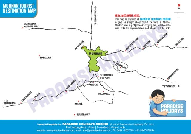 Munnar Tourist Destinations Map - Free Download