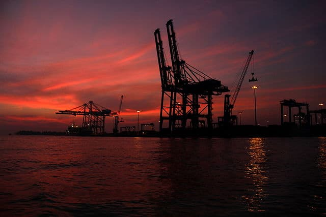 Vallarpadam Container Terminal at Night