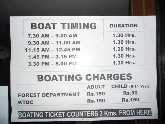 Boat Timings and Charges