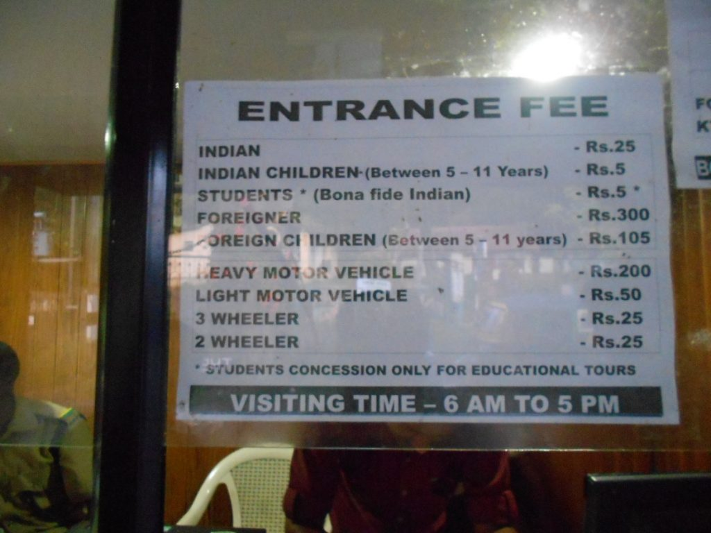 Entrance fee chart to Periyar Tiger Reserve