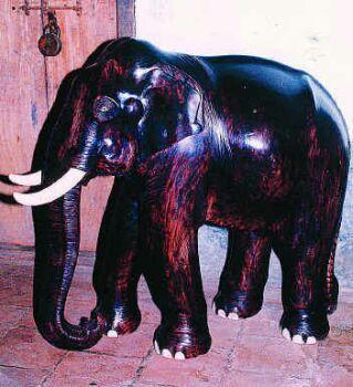 Wooden elephant carved by P. Krishnankutty Menon