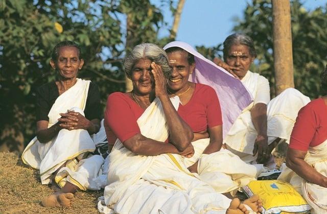 Elderly women enjoying an evening chat!