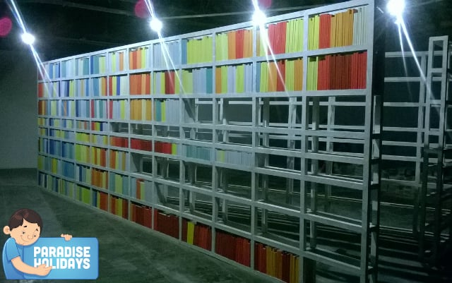 Library representation with colourful books
