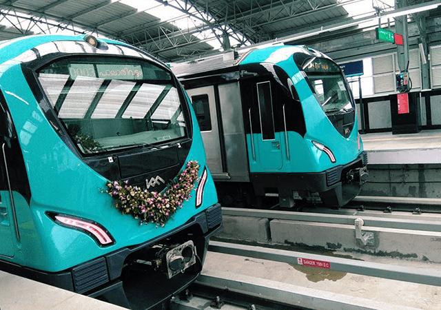 Kochi Metro Trains on Platform