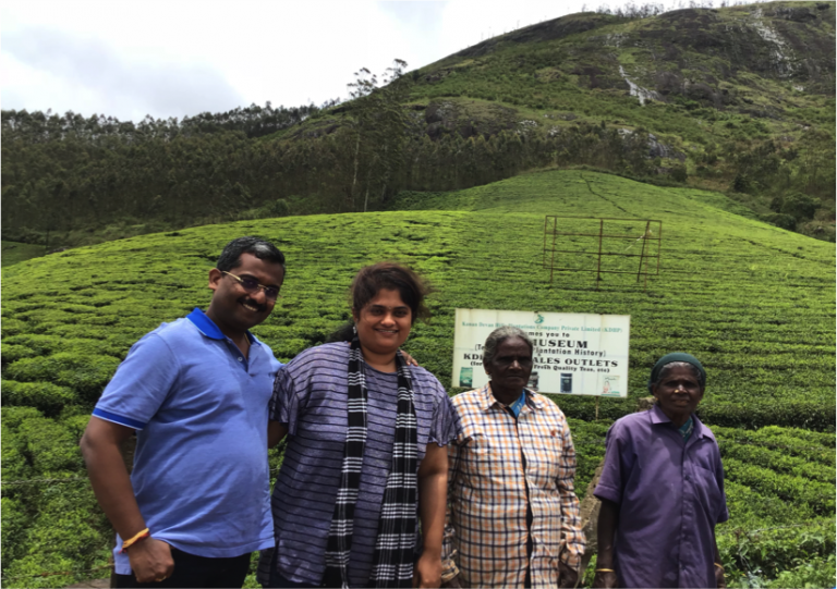 With the locals at Munnar